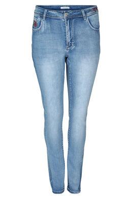 Jeans slim avec broderie, Denim