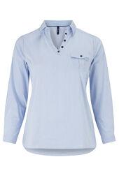 Gestreept shirt, V-hals met knoopjes
