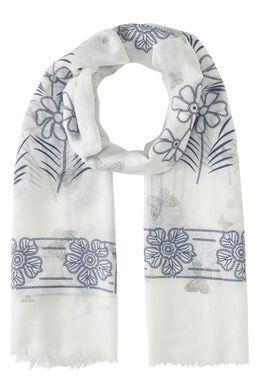 Foulard imprimé fleurs et papillons, Blanc