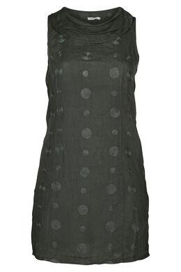 Mouwloze jurk in linnen, Kaki