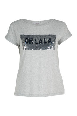 T-shirt met omkeerbare lovertjes, Gris Chine
