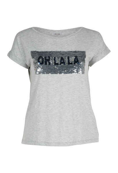 T-shirt met omkeerbare lovertjes - Gris Chine