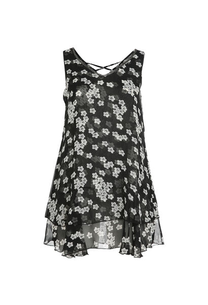 Robe fleurie - Noir