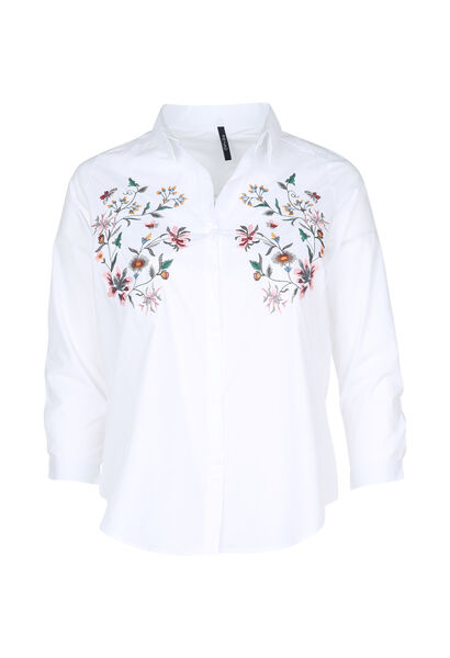 Overhemd met geborduurde bloemen - Wit