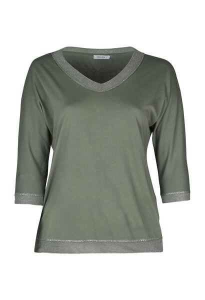 T-shirt met een boord in lurex - Kaki