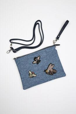 Handtasje in jeans met patches, Marineblauw