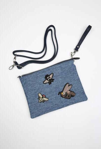 Handtasje in jeans met patches - Marineblauw