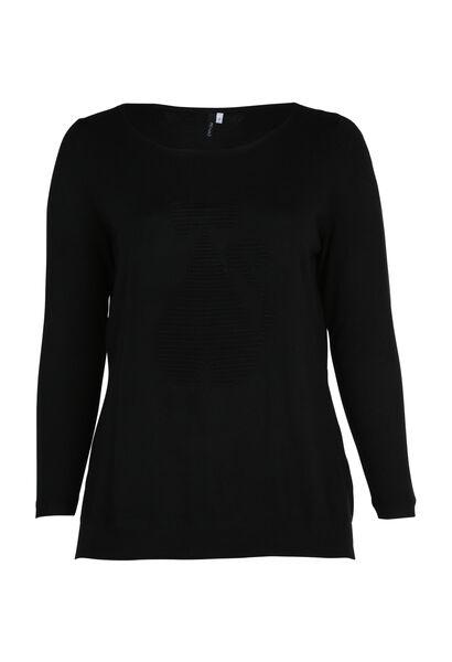 Effen trui met kattenmotief van tricot - Zwart
