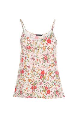 Top met bloemenprint en fijne schouderbandjes, Ecru