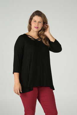 T-shirt in viscosetricot, met gekruiste hals, Zwart