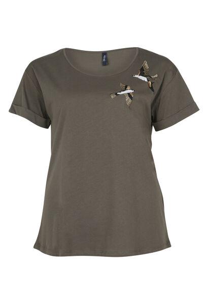 T-shirt brodé oiseaux et sequins - Kaki
