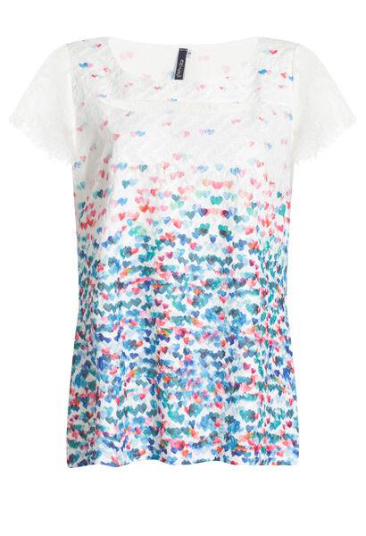 T-shirt in bedrukt kanttricot - Multicolor