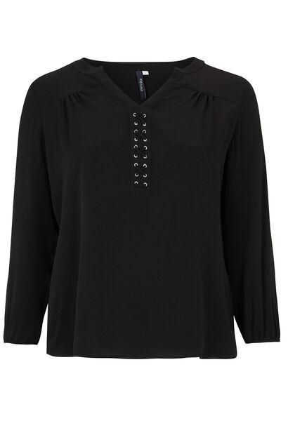 Soepele blouse met ringetjes - Zwart