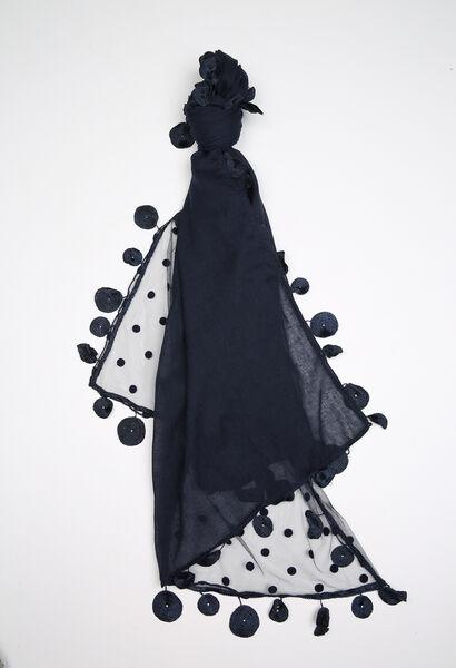 Effen sjaal van materiaalmix - Marineblauw