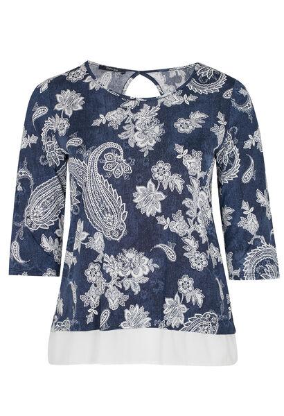 T-shirt met open rug en kant onderaan - Denim
