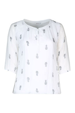 Blouse encolure sequins, Blanc