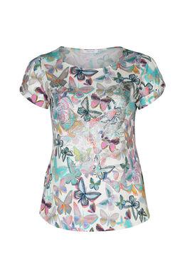 T-shirt met vlinders en strassteentjes, Multicolor