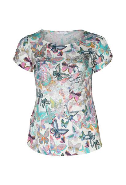 T-shirt imprimé papillons et strass - multicolor
