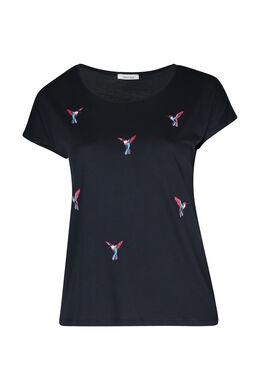 T-shirt brodé d'oiseaux, Marine
