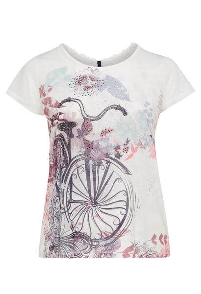T-shirt met fietsprint - Ecru