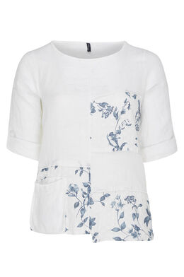 Blouse en lin patch fleuri, Blanc
