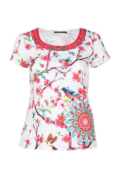 T-shirt met bloemen en vogels - Multicolor