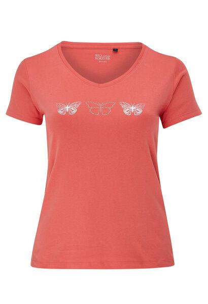 T-shirt coton bio imprimé 3 papillons - Corail