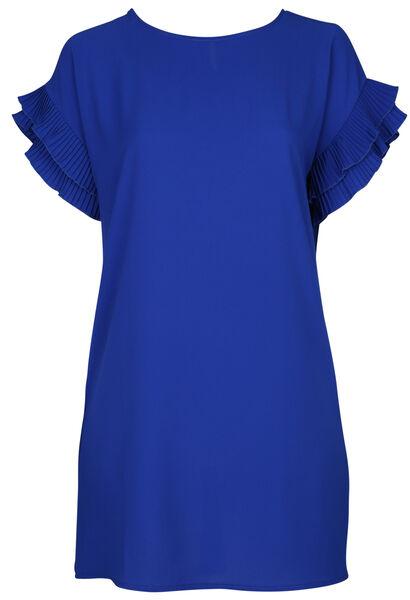 Jurk met plissémouwen - Bic blauw
