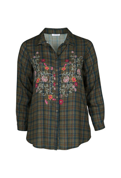 Chemise à carreaux brodée - Kaki