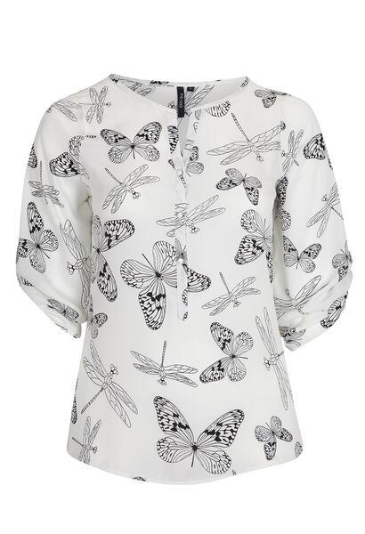 Zomers shirt, vlinders en libellen - Wit