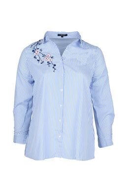 Gestreepte blouse met geborduurde bloemen, Lichtblauw
