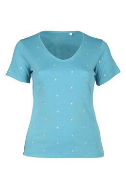 T-shirt met stippen van biokatoen, Lichtblauw