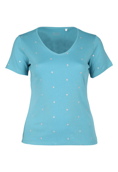 T-shirt met stippen van biokatoen - Lichtblauw