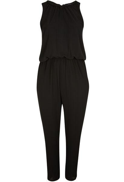 Jumpsuit in crêpe - Zwart
