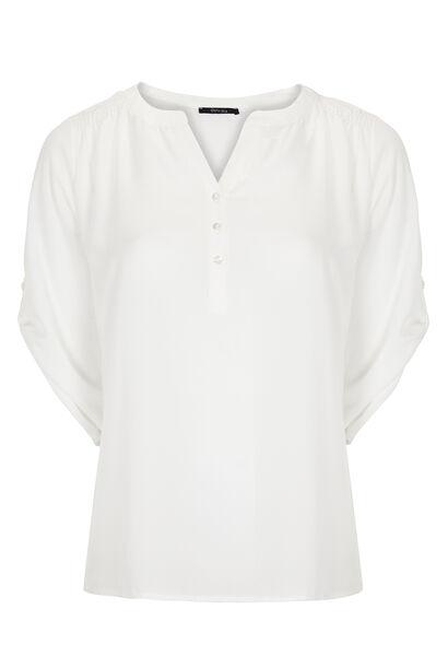 Shirt in effen voile - Ecru