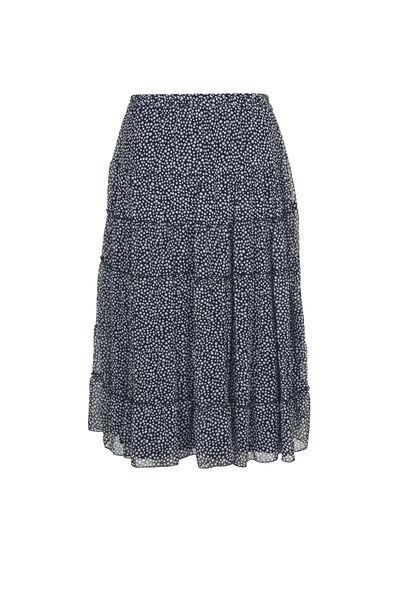 Lange rok met stippen - Marineblauw