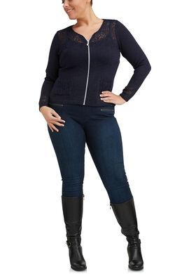 Gilet met rits van opengewerkt tricot, Marineblauw