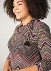 Jurk in warm tricot met etnische print, Multicolor