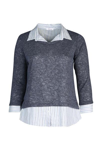 Pull chemise effet 2 en 1 - Indigo