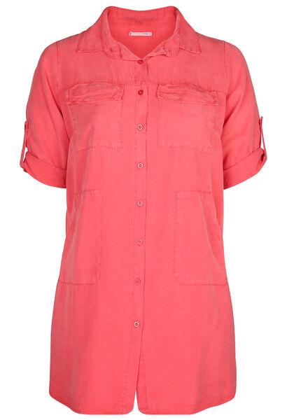 Robe chemise en lyocel uni - Corail
