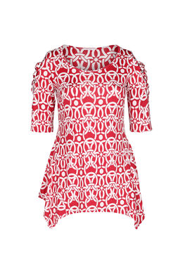 T-shirt tunique maille froide, Rouge