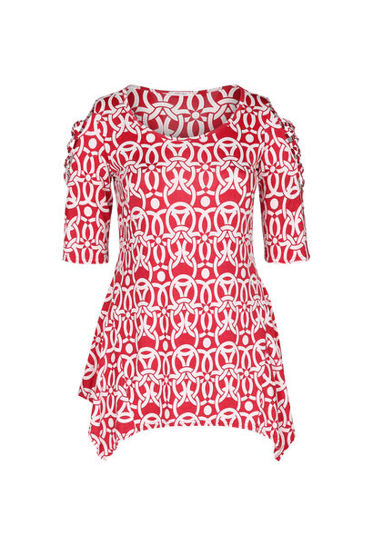 Tuniek t-shirt in tricot - Rood