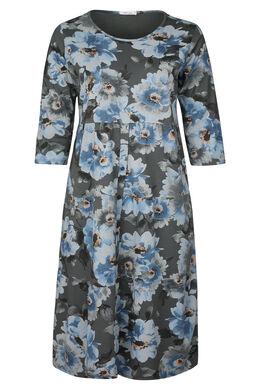 Lange jurk in katoen met bloemenprint, Antraciet