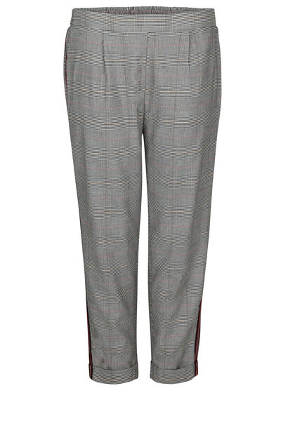 Geruite broek met sportswear-stroken - Zwart