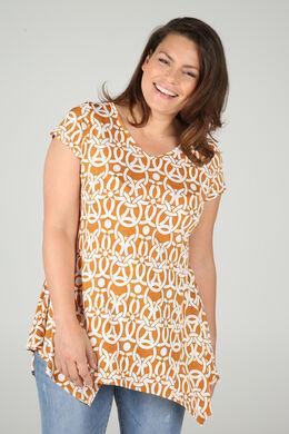 Tuniek-T-shirt in tricot met gomprint, Oker