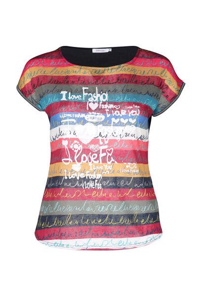 T-shirt en lin imprimé - multicolor