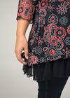Tuniekshirt in kant met bloemenprint, Marineblauw