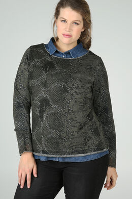 T-shirt met slangenhuidprint, Kaki