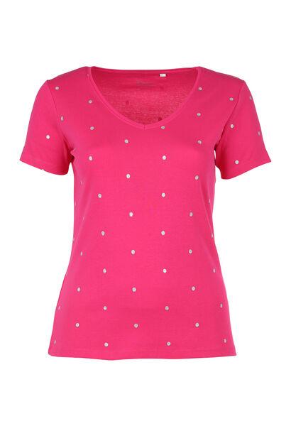 T-shirt met stippen van biokatoen - Fushia