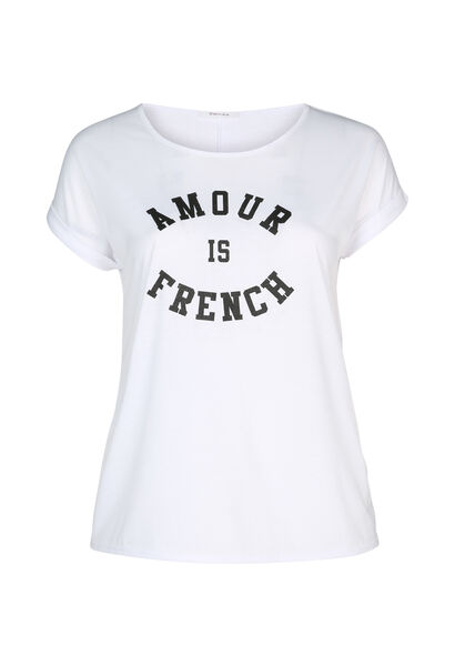 T-shirt 'Amour is French' - Wit